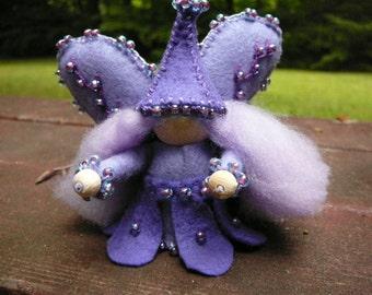 Purple Girl Wool Felt Fairy, Peg Doll Fairy, Waldorf Inspired, One of a Kind, Miniature Fairy Peg Doll