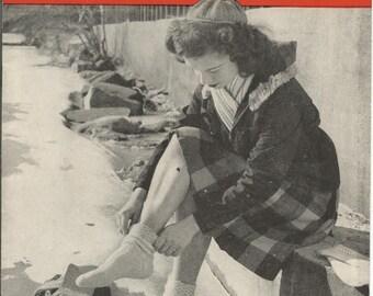 Vintage 1946 DOREEN 2 Needle Socks Pattern Book