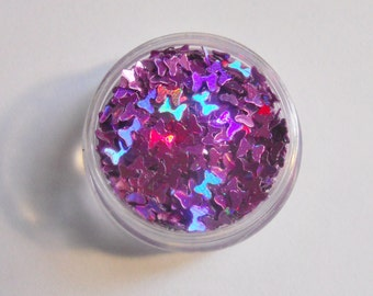 """Holo Light Purple Bows 1/2 Ounce 1/8"""" Solvent Resistant Glitter Frankening Nail Polish Supply Hairbow Shaped Punk Glitter"""