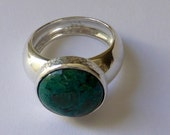 sterling silver ring bombay domed wide band Eilat stone