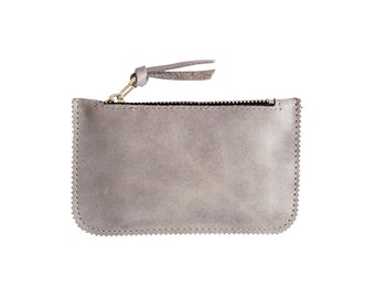 Distressed Grey Leather Credit Card Wallet, Coin Purse  Bag