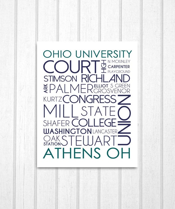 Athens Ohio, Ohio University Street Names Print