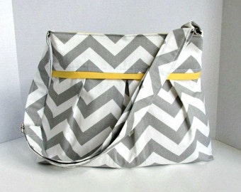 Gray Chevron Pleated Purse Handbag with Messenger Adjustable Strap Zig Zag Made to Order