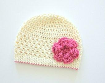 Little Girl Hat, Baby Girl Flower Hat, Toddler Hat, Cream Hat with Pink Flower