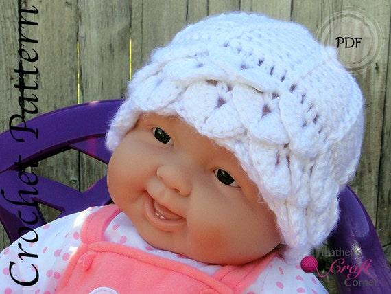 Crochet Pattern -Crocodile Stitch Baby Beanie