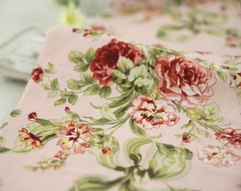 Roses Flower Cotton Fabric - Pink - By the Yard 59730