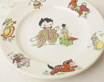 Vintage Hand Painted Baby Plate Meyer China Company USA