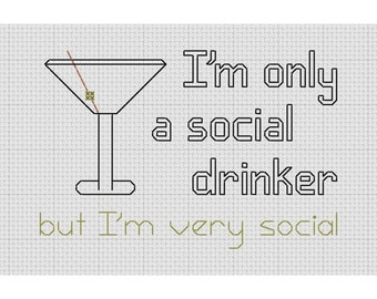 Funny Cross Stitch Social Drinker Martini Glass  PDF Pattern