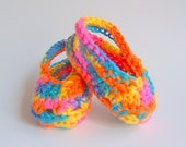 Rainbow  Baby Booties Girl Handmade Crochet Spring Sandals  3 To 6 Month Infant Boy  Bright Orange Purple Yellow Pink Teal Summer Crib Shoes