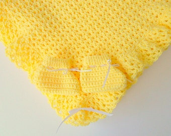 Yellow Baby Blanket  And Booties Set Infant Girl Afghan With Slippers Newborn Boy Shower Gift Set Ready To Ship