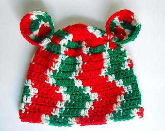 Toddler Girl  Christmas Hat With Ears Baby Boy Holiday Cap 2 To 5 Years  Old Infant Red Green White Children Winter  Beanie
