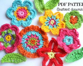 Crochet flower pattern, flowers and leaves crochet pattern, applique flowers, 7 flowers and 2 leaves, pattern no. 99