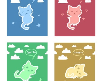 Colorful Cat Illustrations for DIY Projects, 5 Printable Digital Files
