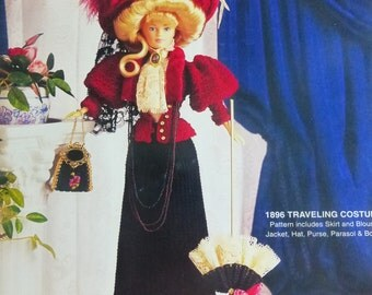 Fashion Doll Crochet Collector Costume Volume 14  1896 Traveling Costume Pattern for Barbie