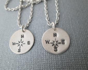 2 Compass, Best Friend Necklaces
