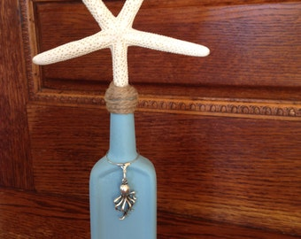 ANTIQUE BOTTLE- Finger STARFISH- Vintage Castoria Bottle - Star Fish - Beach - Coastal Decor