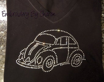 VW Bug Rhinestone T-shirt - or ask me about other pictures., beetle t shirt, bug t shirt