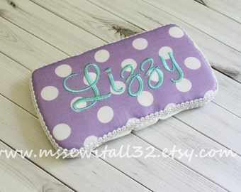 Custom Purple / Lavender Polka Dots Diaper Wipes Case