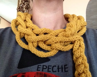 Spool knit and hand crocheted maize infinity scarf