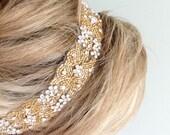 "Gold Crystal Headband. Wedding Bridal Tiara, Headpiece. WHITE or IVORY Satin Ribbons, Rhinestones.Beaded. Bridesmaids, Prom ""Missy"""