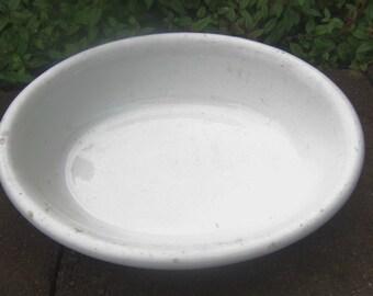 Primitive Ironstone Bowl, c1900s, K Y and K China 101 Oval Bowl, White Semi-Vitreous China