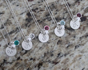 Custom Personalized Sterling Silver 925 Hand Stamped Necklace with Inital, Pearl & Birthstone