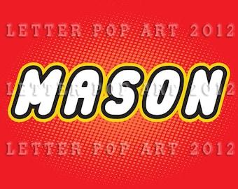 "MASON - Using Lego Letters 8.5"" x 11"" (Landscape) Digital File"