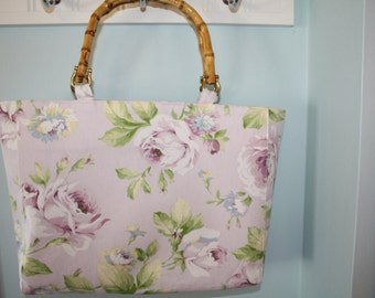 Lavender Floral Purse With Bamboo Handles