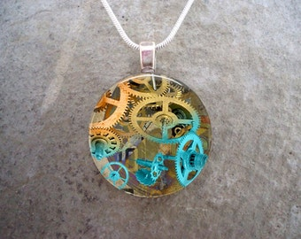 Steampunk Jewelry - Glass Pendant - Blue and Gold Gears - Steampunk 2-5