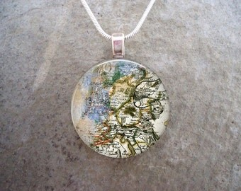 Map Jewelry - Glass Pendant Necklace - Map 11 - RETIRING 2017