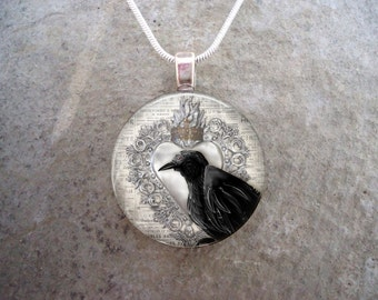 Crow Jewelry - Bird Jewellery - Glass Pendant Necklace - Raven 12