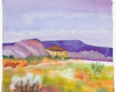 Original mixed media collage, desert landscape, contemporary art, textured papers,  blue, purple, yellow, green