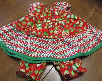 Christmas Outfit - Infant Girl dress and bloomers - Peasant ruffle dress - Owl Dress - Chevron Dress - Red Dress - Holiday fashion