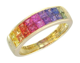 Multicolor Rainbow Sapphire & Diamond Invisible Set Ring 18K Yellow Gold (2.02ct tw) : sku 435-18k-yg