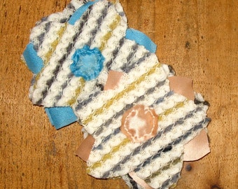 Handmade Flower Pins Layered in Knit & Silk Combo. Textured Stripe or Solid Cashmere. HOLIDAY Gift For Her. Under 20.