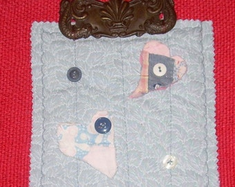 OOAK Primitive HEART QUILTED Wallhanging with an antique metal drawer pull