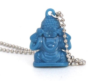 Blue Buddha Necklace, Buddha Charm, Buddha Pendant, Buddha Jewelry, Yoga Jewelry, Stocking Stuffer, Buddhist Gift
