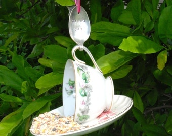 Teacup Bird Feeder with Hand Stamped Bent Spoon- HAPPY DAY- Perfect Birthday Gift
