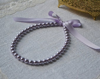 Victoria {Little Girl}: Beautiful Child Pearl Necklace - Lilac Pearls with Lavender Ribbon Tie - Flower Girl