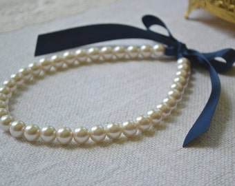 Victoria {Little Girl} - Beautiful Pearl Necklace - Ivory Pearls with Navy Ribbon Tie