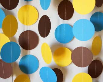 Birthday Decorations, Blue, Yellow & Brown Garland, Baby Shower Decor, Boy's Birthday Party, 10 ft.