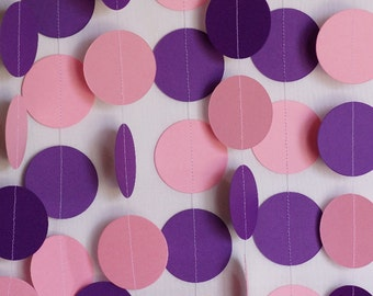 Pink & Purple Birthday Garland, Paper Circle Garland, Pink Purple Party Decor, Baby Shower, 10 ft. long