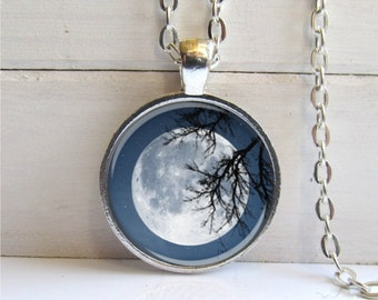 Moon Pendant, Full Moon Necklace, Moon Charm, Silver Charm Necklace