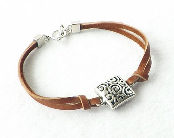 Leather Silver Bracelet, Sundance Style, Leather Bracelet, Stacking Bracelet, Southwestern Jewelry, Minimalist, Boho, Simple, Gift for Her