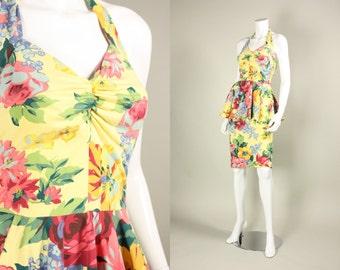 1980's BETSEY JOHNSON DRESS Punk Label Designer Floral Cotton Jersey Halter Peplum