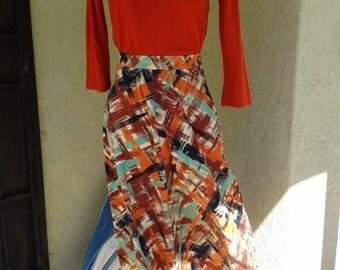 1940s -1950s A-line Corduroy Skirt- Paint stroke print - Fall time colors- Holiday season- Metal Talon zipper- Vintage Basic- Vtg Original