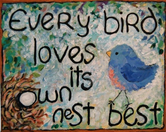 bird nest whimsical art quote print choose your size Peggy Johnson