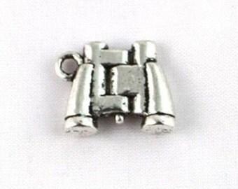 6 BINOCULAR Charms 3 D Small Camping, Scouting, Bird Watching or Mrs Kravitz Silver Tone Explorer Charm Jewelry 19x13.5x4 mm