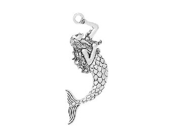 Two Very Large MERMAID Pendants Sea Goddess Atq Silver Tone Ocean Beach Pendant Jewelry 76x40 mm