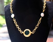 Glass Intaglio and Freshwater Pearl Necklace